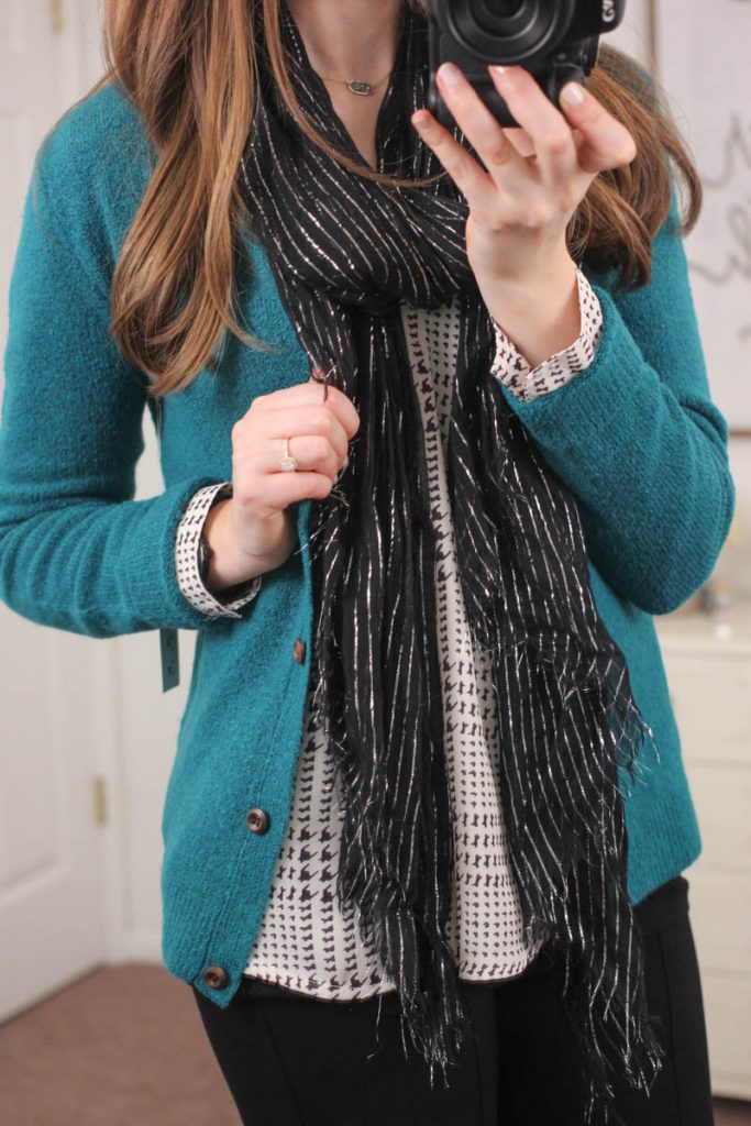 Brian Button Front Cardigan from Mak & Ackley Houndstooth Print Blouse from 41Hawthorn - January Stitch Fix