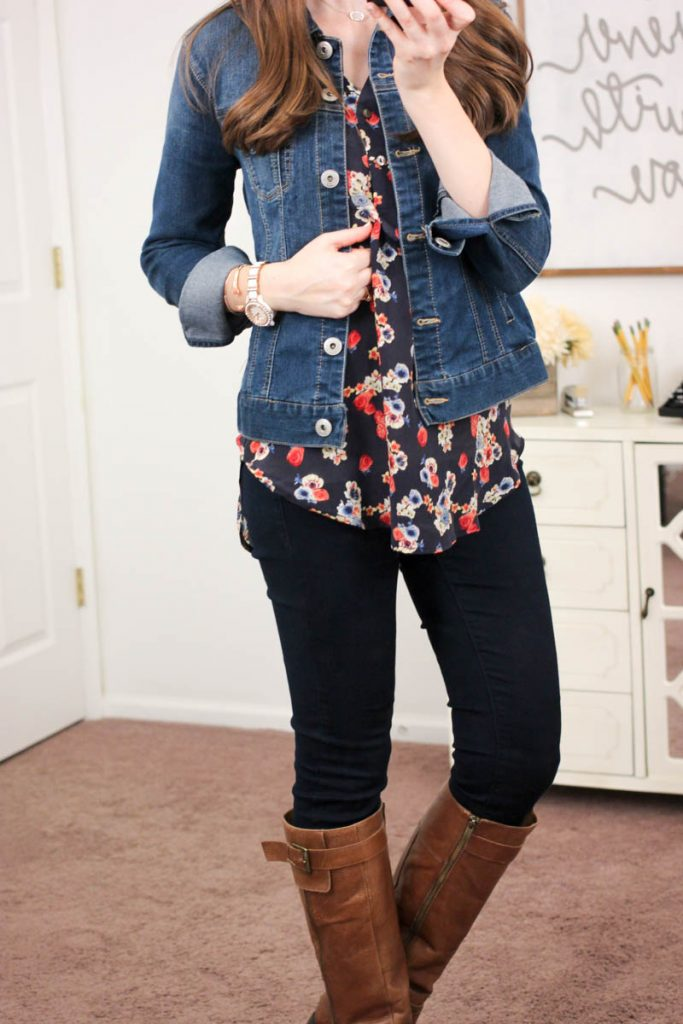 Alessandro Silk V-Neck Blouse from Amour Vert For Stitch Fix & Jalie Denim Jacket from Liverpool - January Stitch Fix