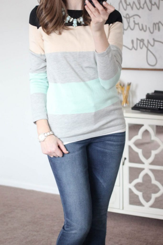 Abrielle Color Block Sweater from Market & Spruce & Briley Skinny Jean from Level 99 - February Stitch Fix