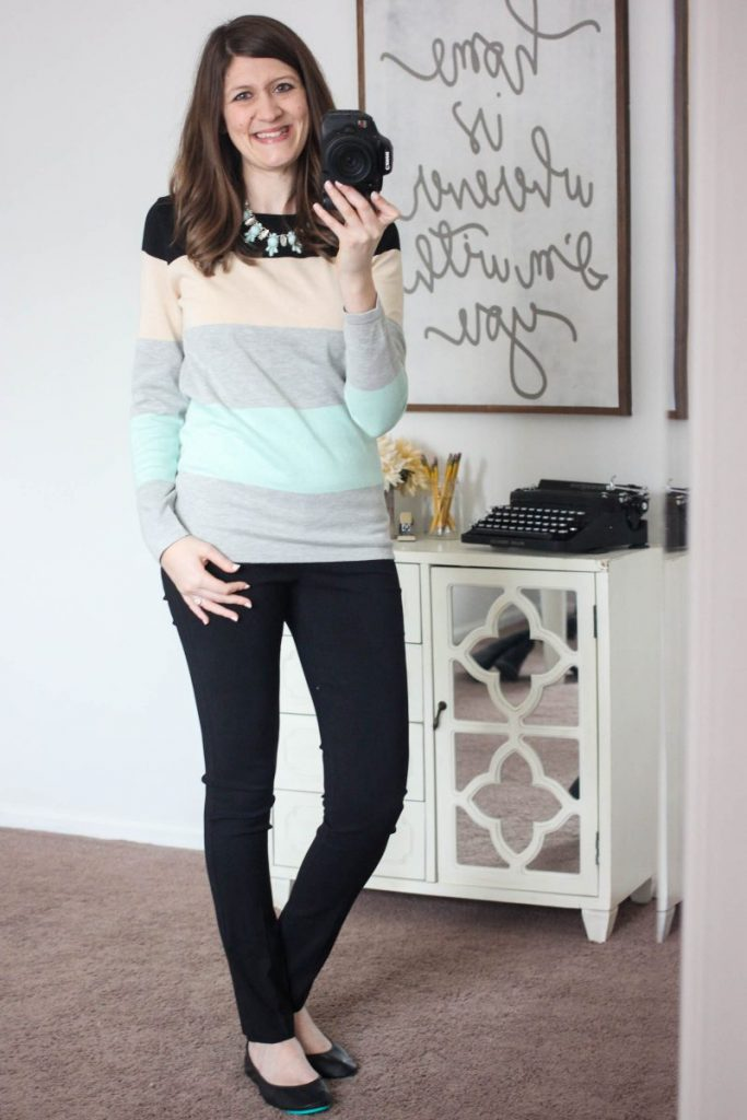 Abrielle Color Block Sweater from Market & Spruce & Emer High Waisted Tall Trouser pants from Margaret M - February Stitch Fix