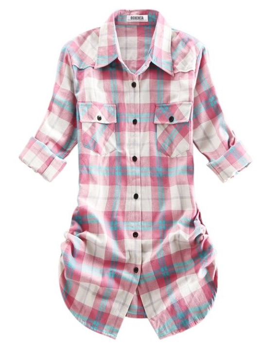 Ochenta pink and blue plaid flannel shirt