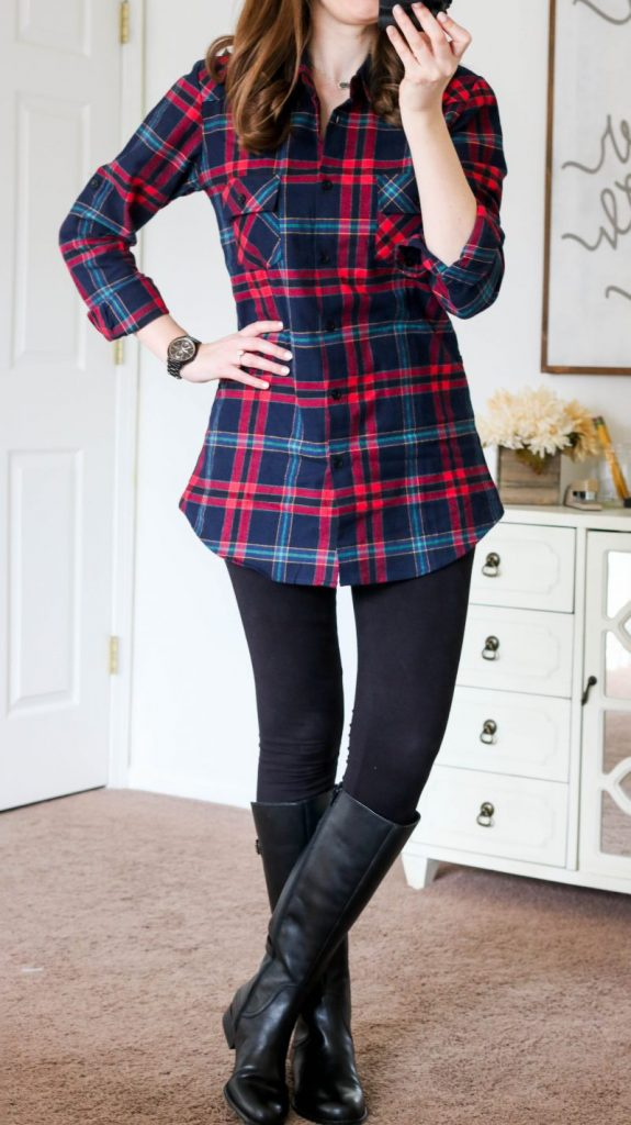 Ochenta plaid flannel shirt, black leggings and black leather riding boots. Winter style perfection!