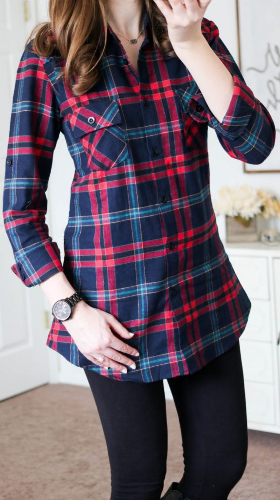 plaid flannel tunic, black watch and black leggings