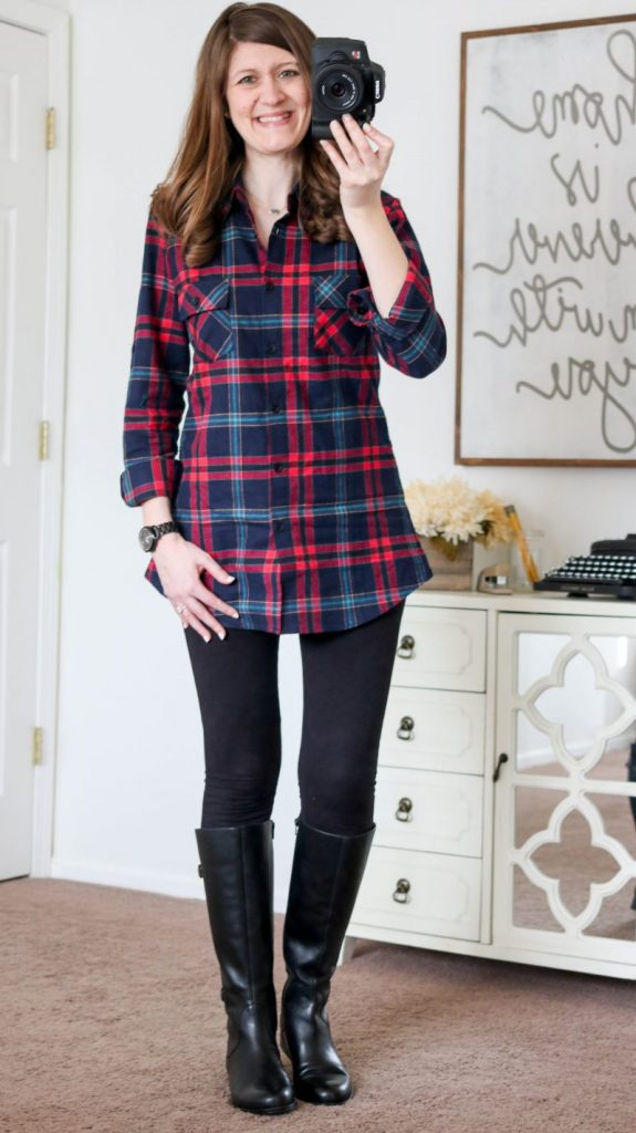 Ochenta plaid flannel tunic with black leggings and black leather riding boots - all purchased on Amazon! Blog post has more details and links to purchase