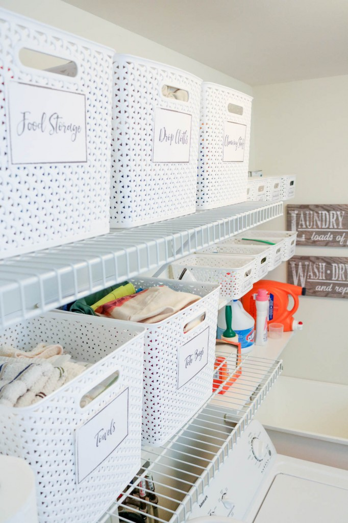 Laundry room organization and FREE printable labels for storage bins