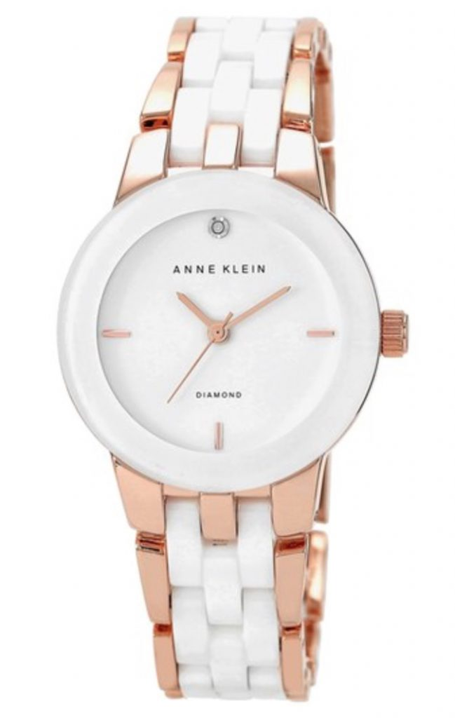 Anne Klein white ceramic and rose gold watch