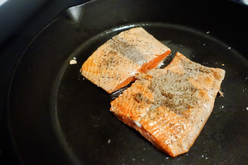 Fry salmon in Cast Iron Pan