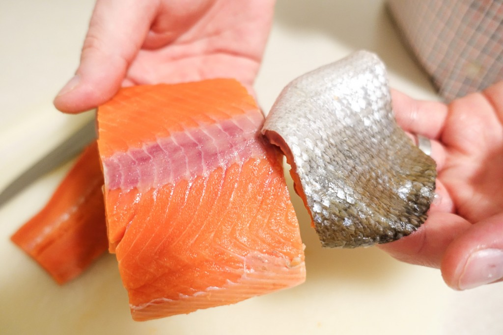 Remove Skin from Salmon