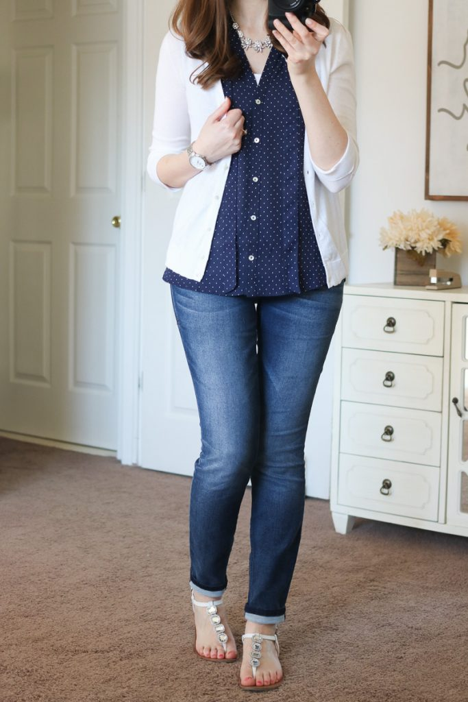 Ramos Tie Neck Blouse from Alice Blue & Jaclynn 3/4-Sleeve Button-Up Cardigan from Mak - April Stitch Fix