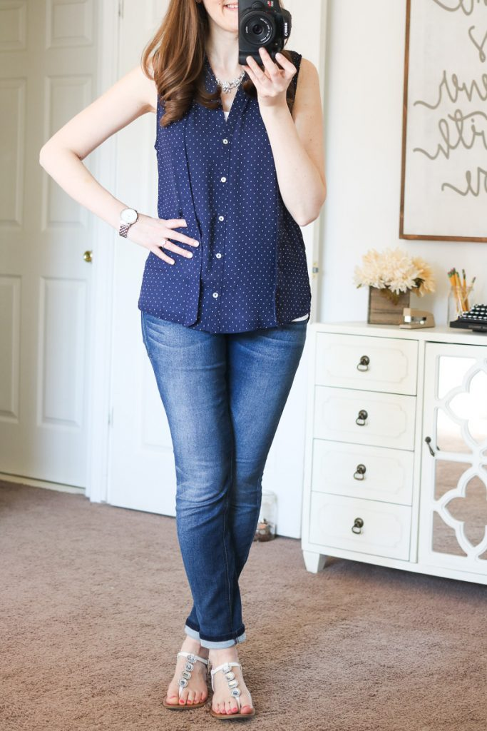 Ramos Tie Neck Blouse from Alice Blue & Briley Skinny Jeans from Level 99 - April Stitch Fix