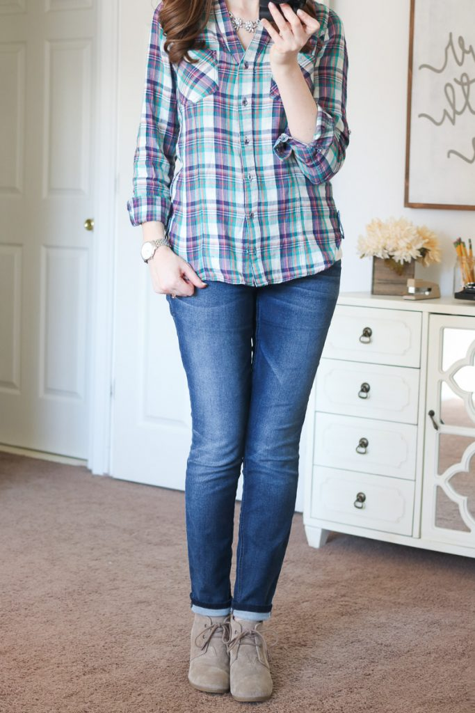 Silva Button Front Top from Skies are Blue & Briley Jeans from Level 99 - April Stitch Fix