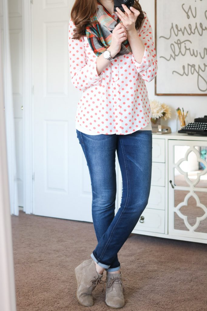 Nova Scotia Plaid Infinity Scarf from Mangrove & Briley Skinny Jeans from Level 99 - April Stitch Fix