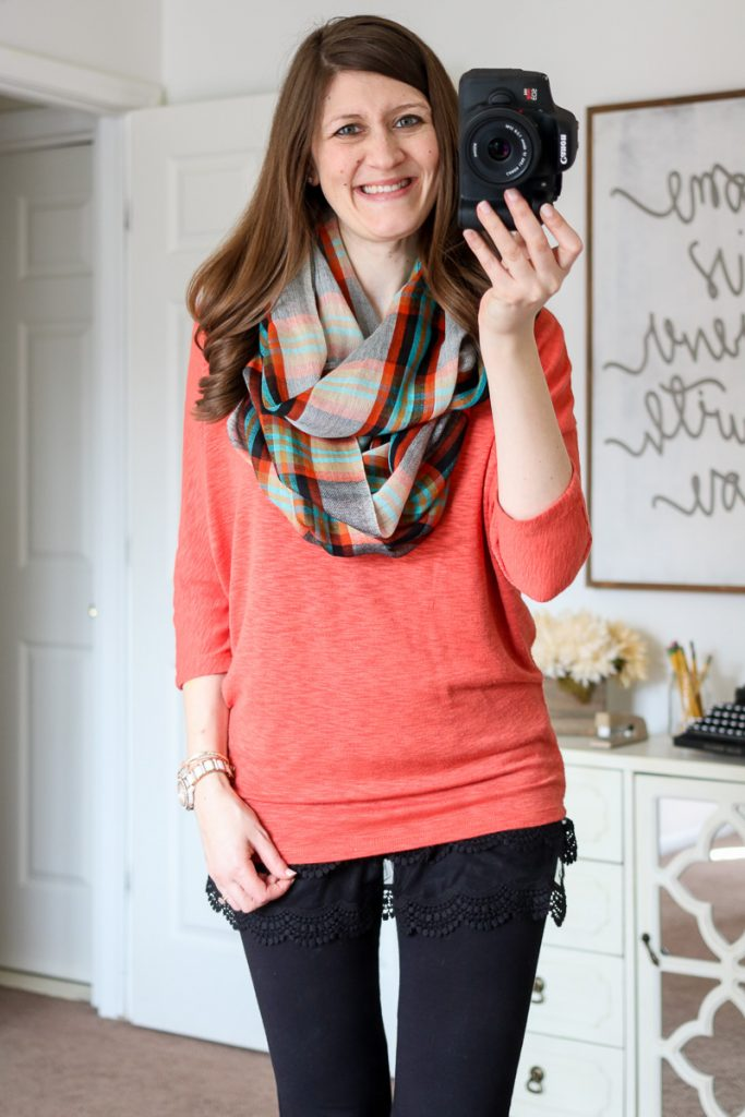 Nova Scotia Plaid Infinity Scarf from Mangrove & Bowie Solid Dolman Sleeve Top - April Stitch Fix
