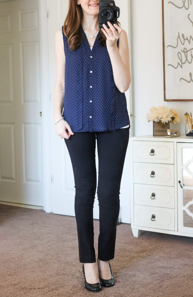 Ramos Tie Neck Blouse from Alice Blue & Black Emer Pants - April Stitch Fix