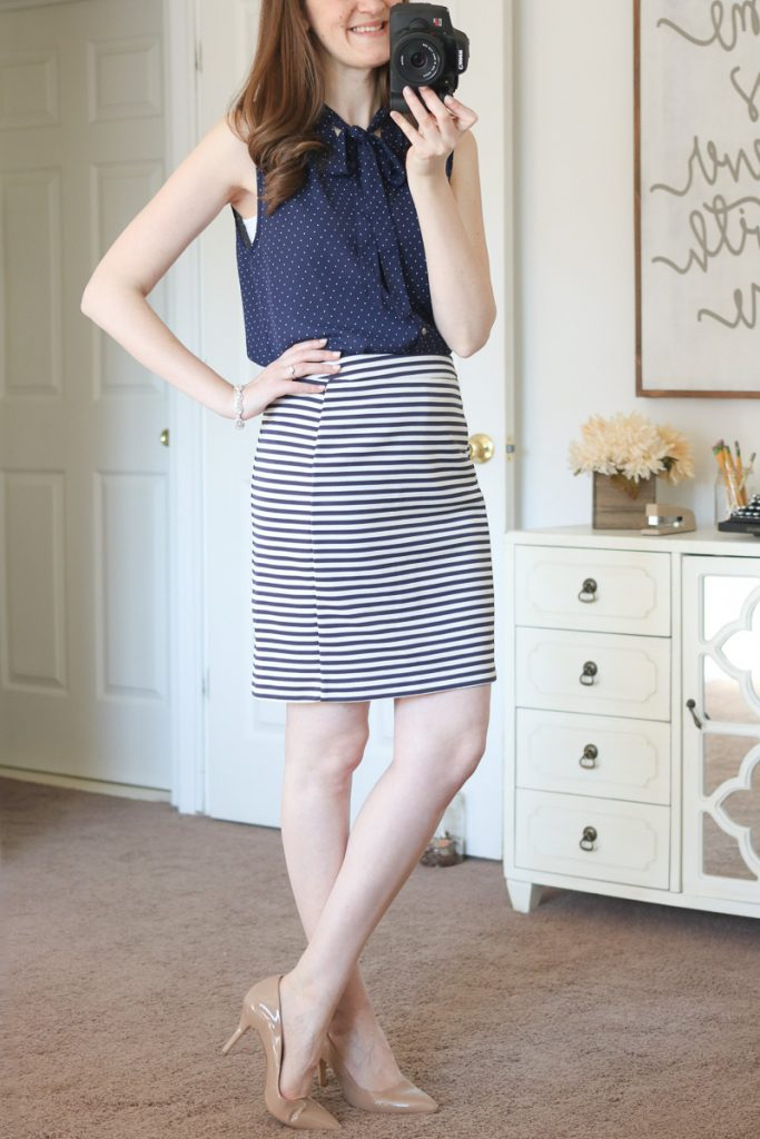 Ramos Tie Neck Blouse from Alice Blue & Walt Striped Skirt from 41Hawthorn - April Stitch Fix