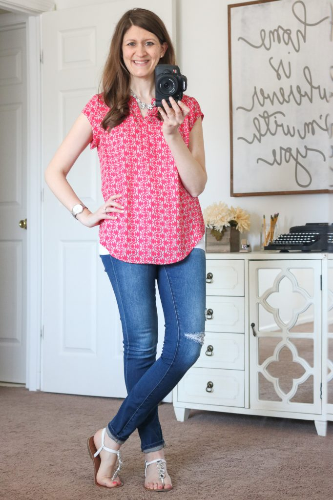Stitch Fix - Hudson Split Neck Blouse with distressed skinny jeans