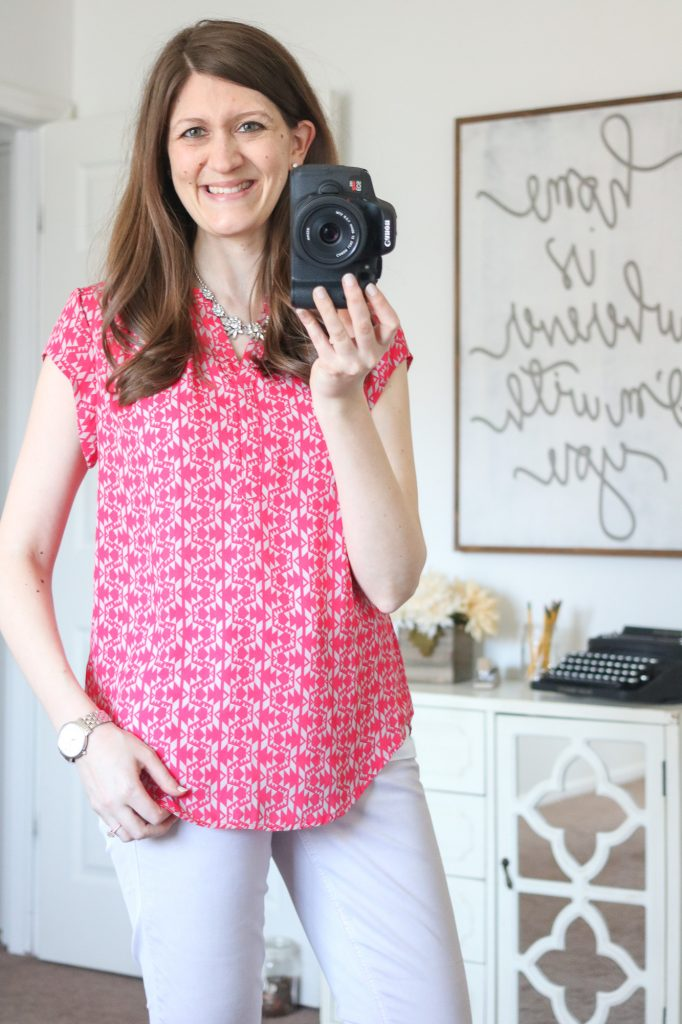 Stitch Fix - Hudson Split Neck Blouse with Patrick cropped chino pant from Level 99