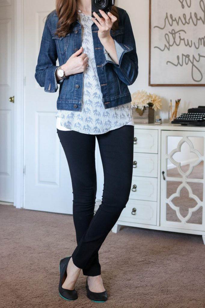 Stitch Fix - Ellie Printed 3/4 Sleeve Blouse with black Emer pants from Margaret M and a denim jacket