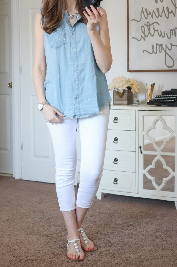 Stitch Fix - Vitoria Split Back Top and skinny white denim capris