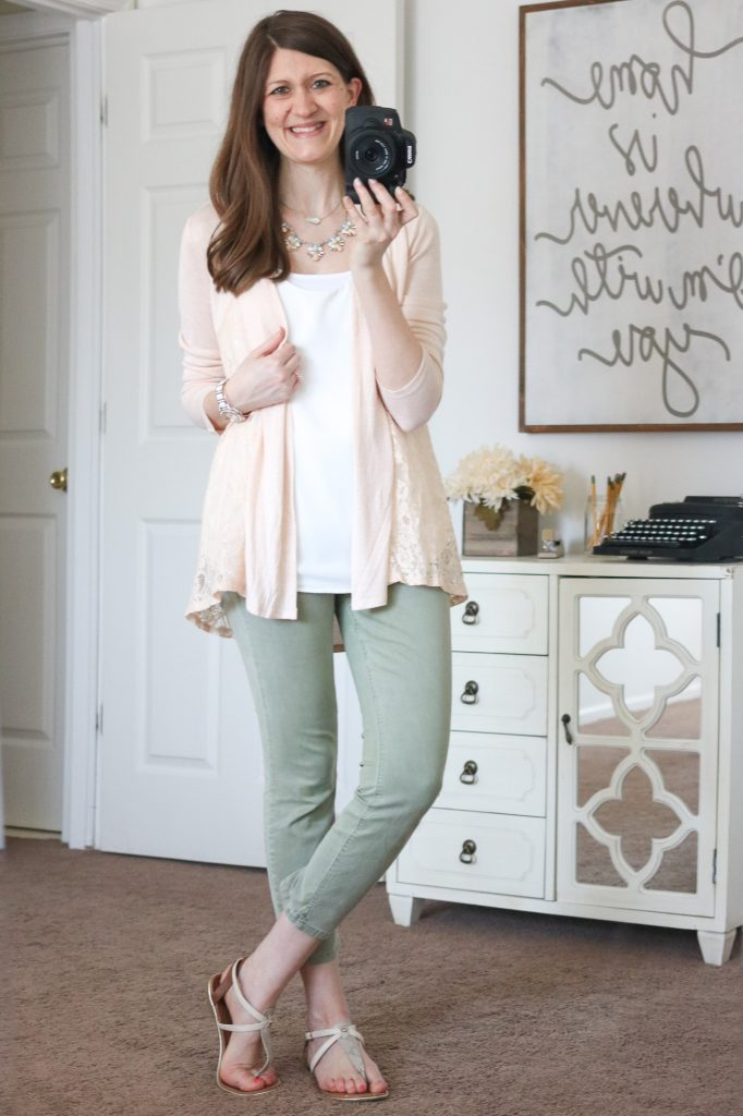 Stitch Fix - Mal Lace Inset Cardigan with olive green Patrick Cropped Chino Pants and Aliyah Sleeveless Shell Blouse