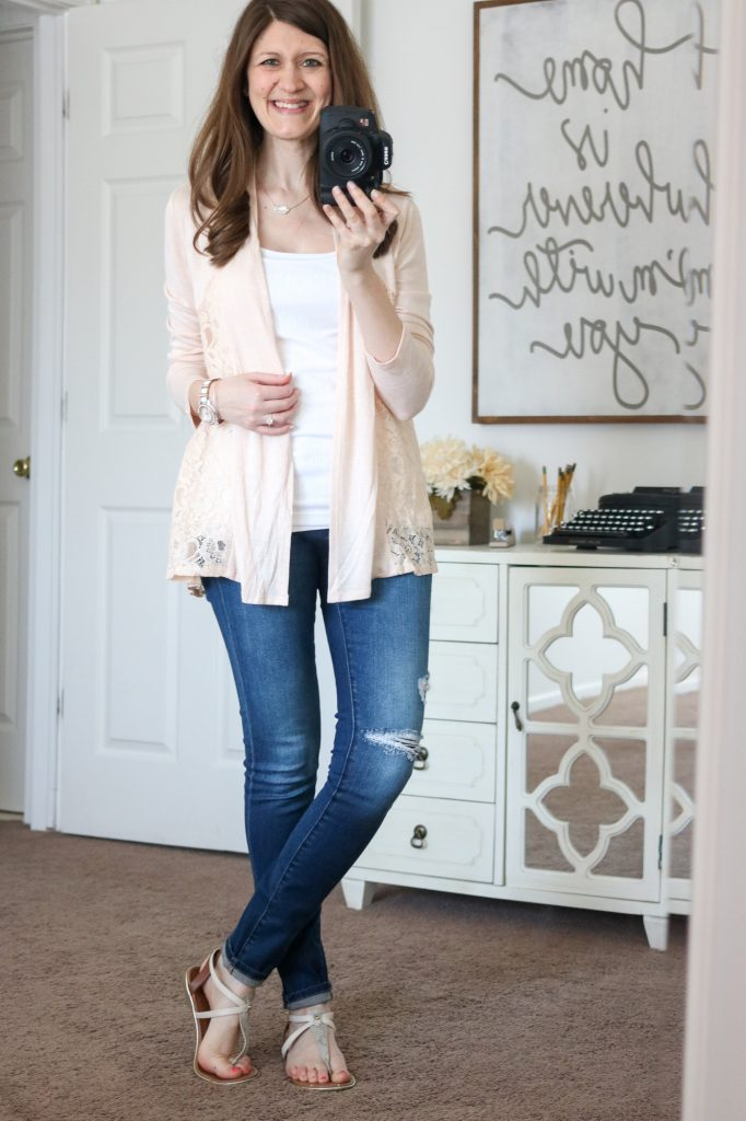 Stitch Fix - Mal Lace Inset Cardigan with distressed jeans and white t-strap sandals