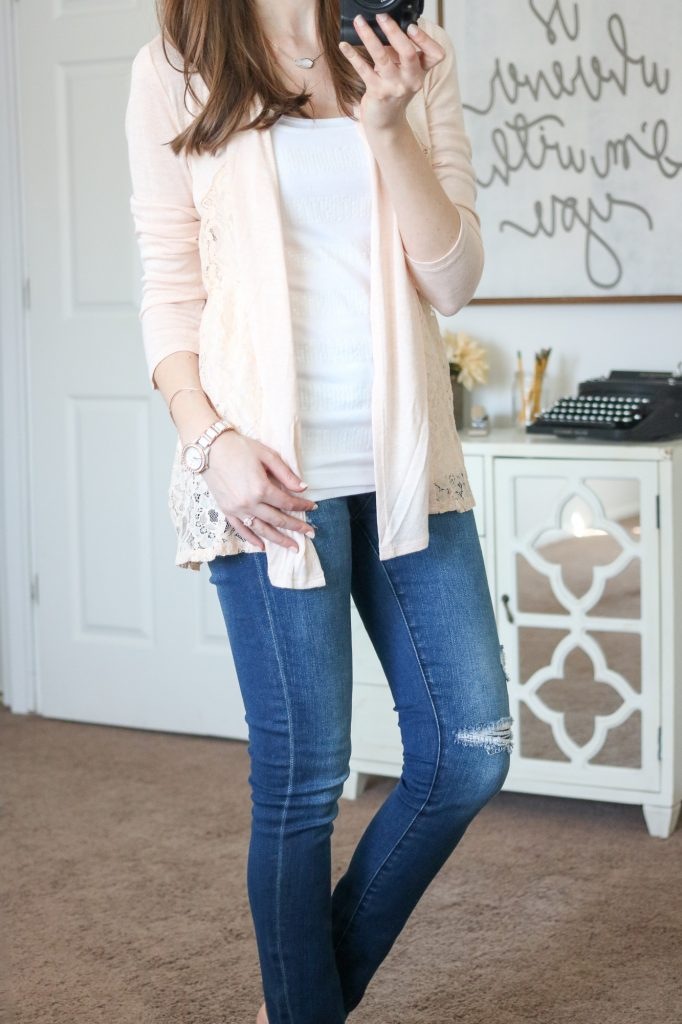 Stitch Fix - Mal Lace Inset Cardigan with distressed jeans