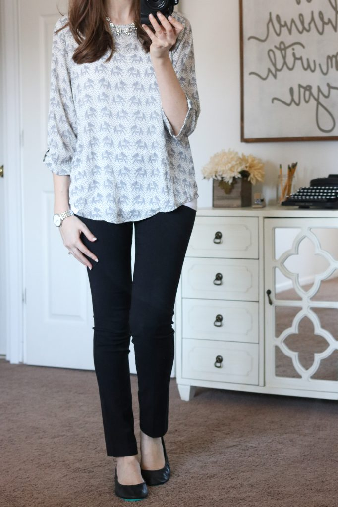 Ellie Printed 3/4 Sleeve Blouse with black Emer pants from Margaret M