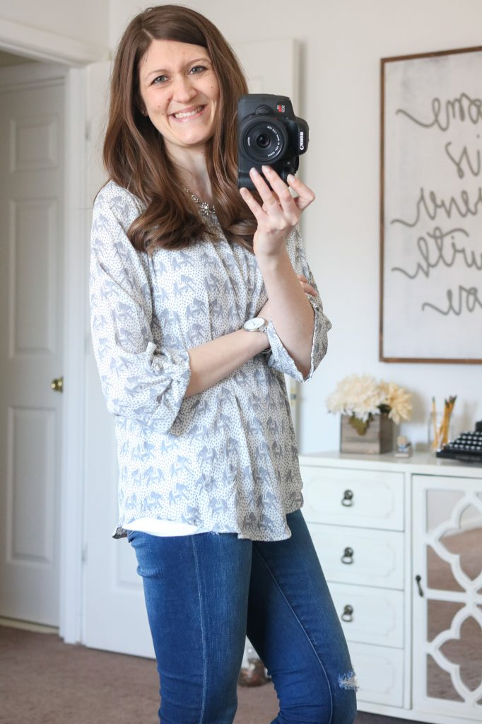 Stitch Fix - Ellie Printed 3/4 Sleeve Blouse with distressed skinny jeans