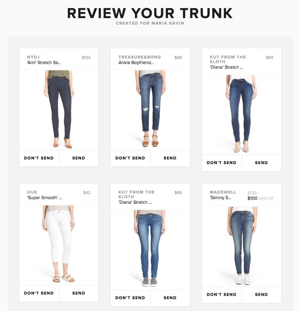 Try Trunk Club... you'll be matched with a personal stylist and you can review your trunk before it is shipped