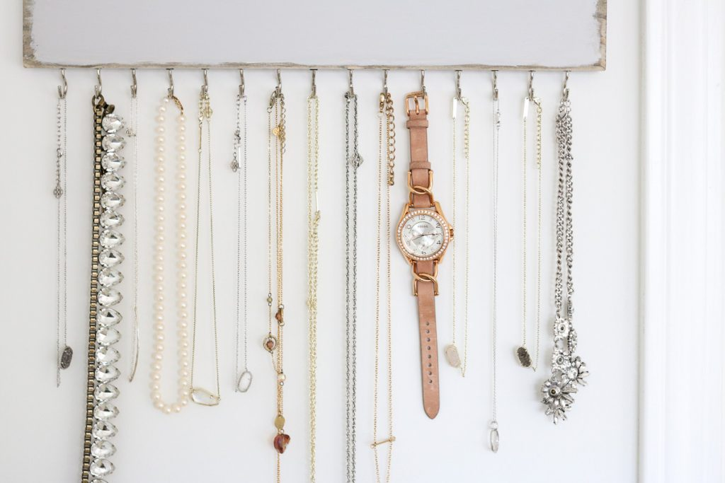 Custom etsy jewelry and necklace rack in home office