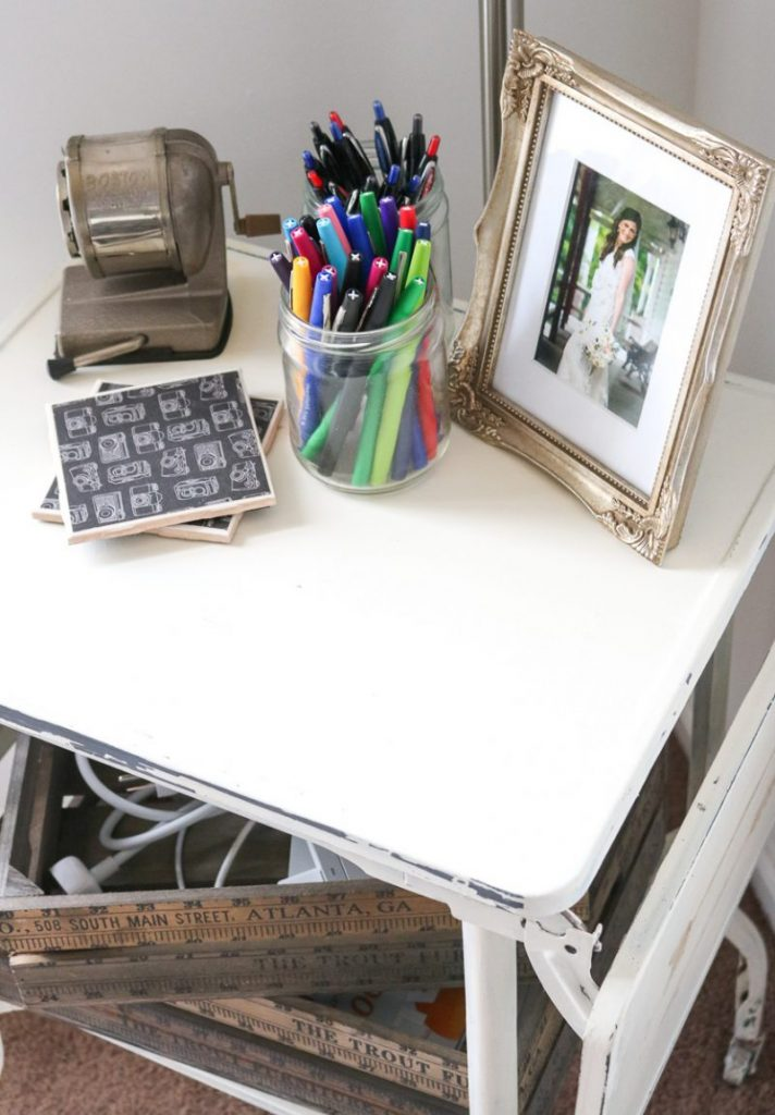 Pens and easy access storage in vintage home office