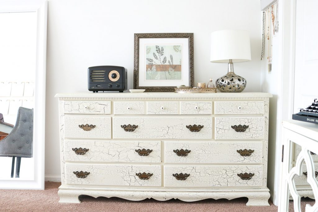 Vintage dresser as storage for home office