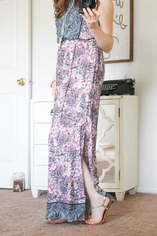 Kaleia Maxi Dress from Renee C and Kendra Scott Rayne rose quartz necklace- Stitch Fix