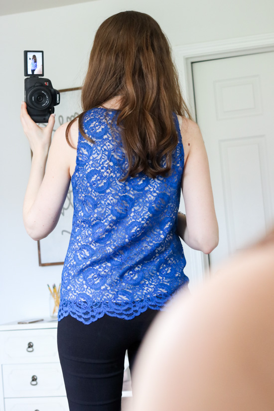 Queenie Lace Overlay Blouse from Lavender Brown and black Emer pants from Margaret M- Stitch Fix