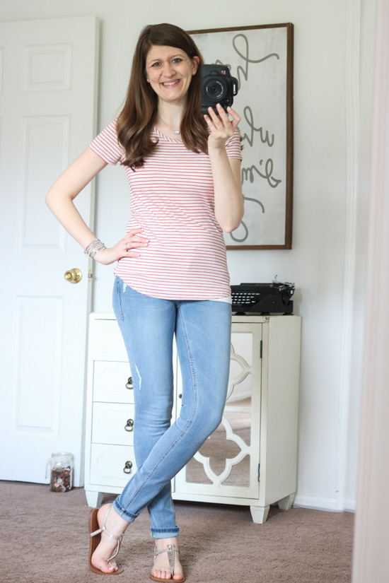Stazi Lace Shoulder Knit Top from Loveapella and Shauna Skinny Jean from Level 99- June Stitch Fix review