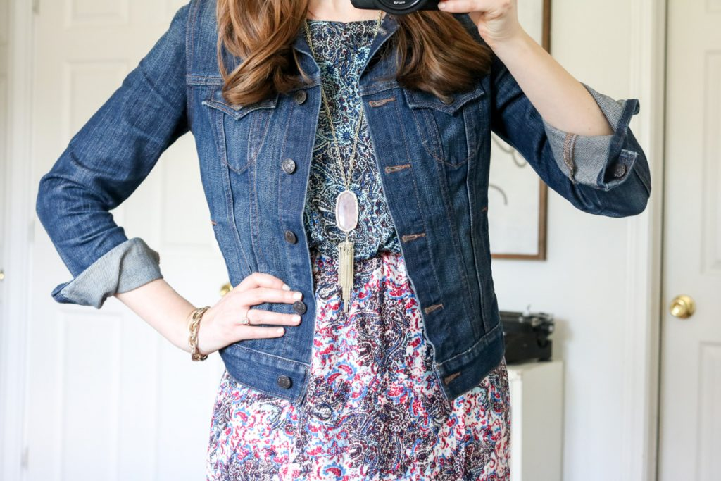 Kaleia Maxi Dress from Renee C with a denim jacket and Kendra Scott Rayne rose quartz necklace- Stitch Fix