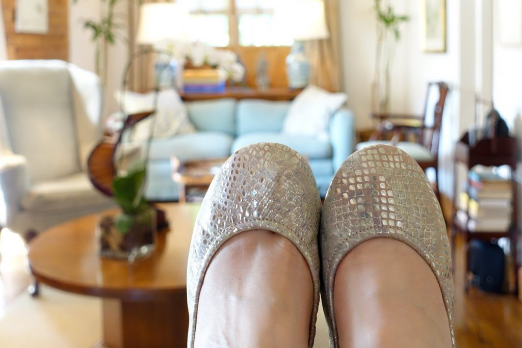 romantic blush Tieks on vacation