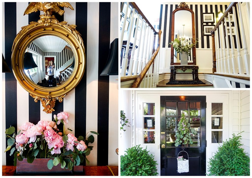 black and white stripes with pink peonies