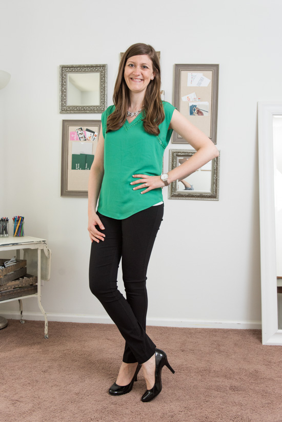 green Carla Crochet Detail Blouse from 41Hawthorn with Emer pants - July Stitch Fix review