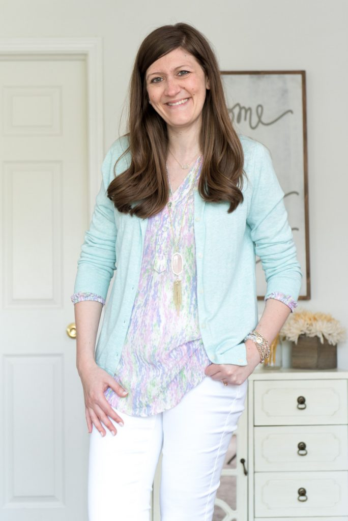 Alessandro Silk V-Neck Blouse from Amour Vert for Stitch Fix and rose quartz Rayne Kendra Scott necklace - July 2016 Stitch Fix review