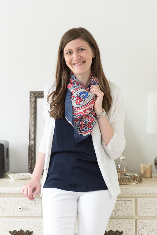 4th of July Stitch Fix look with navy Dawney Scallop Trim Blouse from 41Hawthorn - July Stitch Fix review