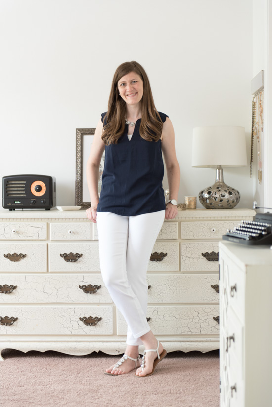 navy Dawney Scallop Trim Blouse from 41Hawthorn - July Stitch Fix review