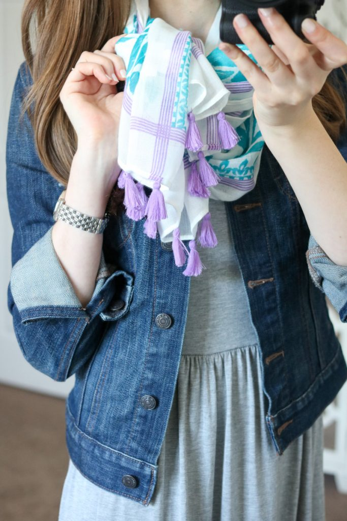 cute summer scarf and denim jacket