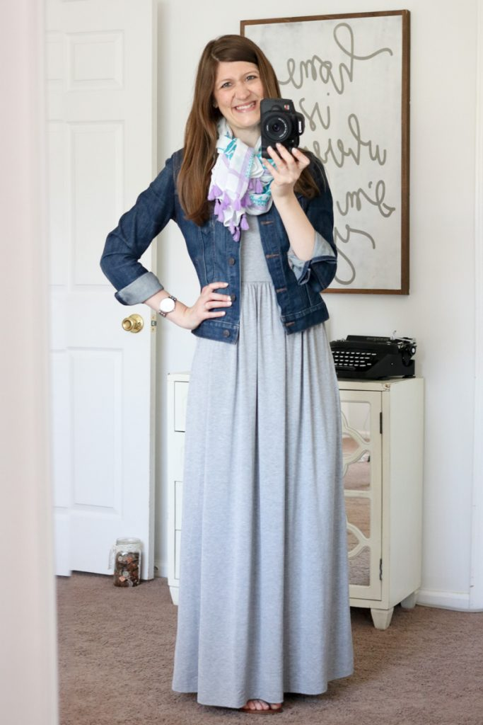 summer maxi dress and denim jacket