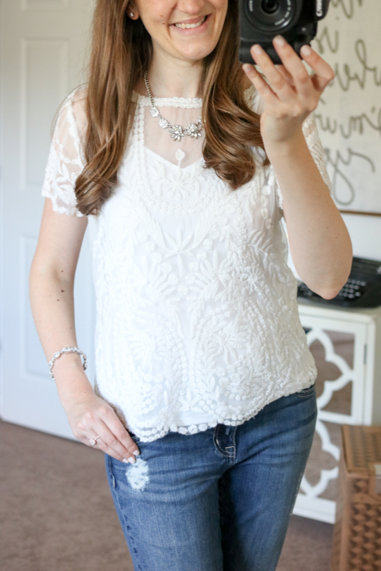 short sleeve lace top - July Trunk Club Review