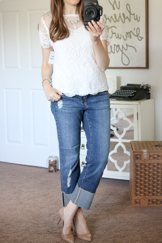 Distressed Cuffed Crop Jeans from Caslon - July Trunk Club Review