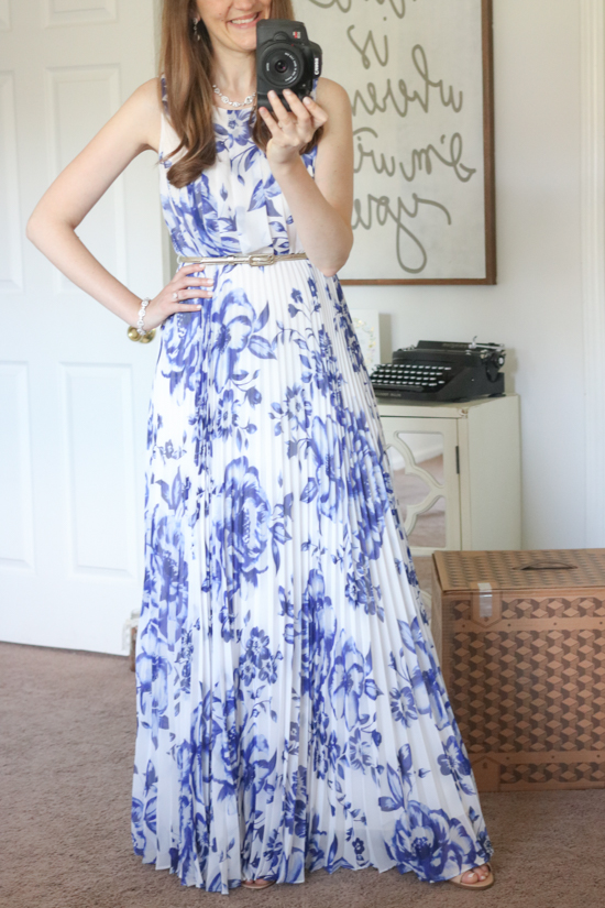 Belted Print Chiffon Maxi Dress from ElizaJ - July Trunk Club Review