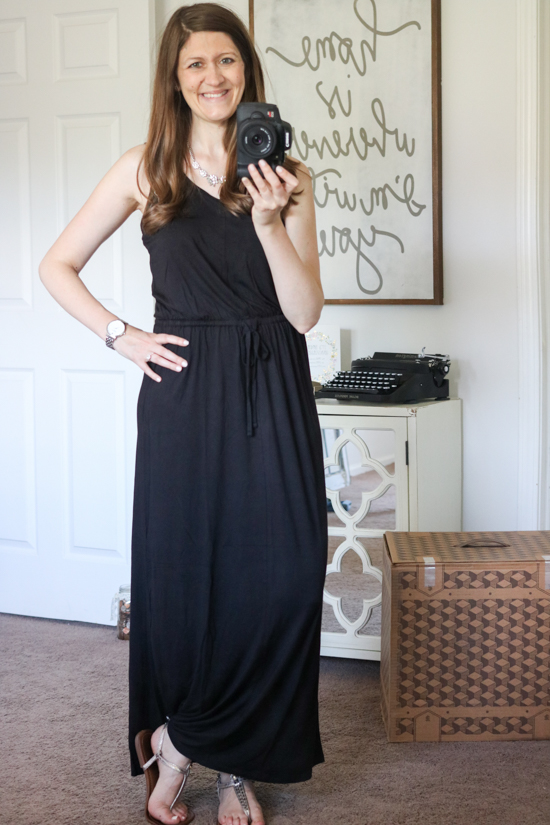 black Drawstring Waist Maxi Dress from Caslon - July Trunk Club Review