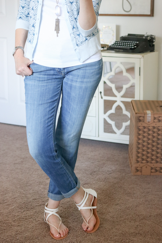 Three Quarter Sleeve Cardigan from Halogen with 7 for All Mankind boyfriend jeans - July Trunk Club Review