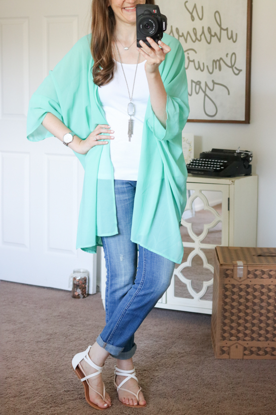 teal Nordstrom Brand Sheer Cover Up - July Trunk Club Review